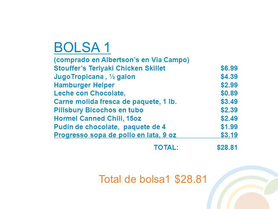 BOLSA 1 Total de bolsa1 $28.81 (comprado en Albertson's en Via Campo)
