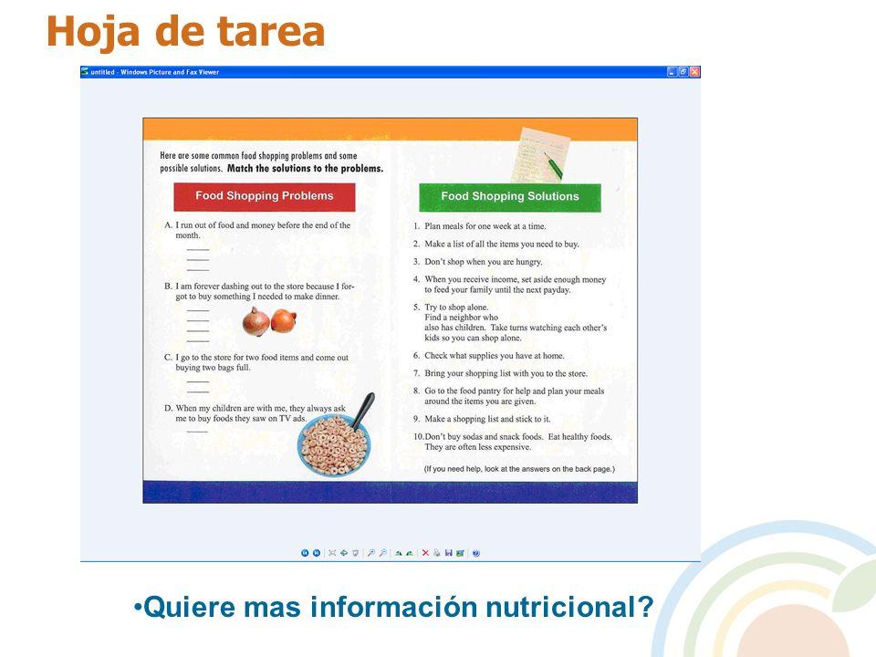 Hoja de tarea Quiere mas información nutricional