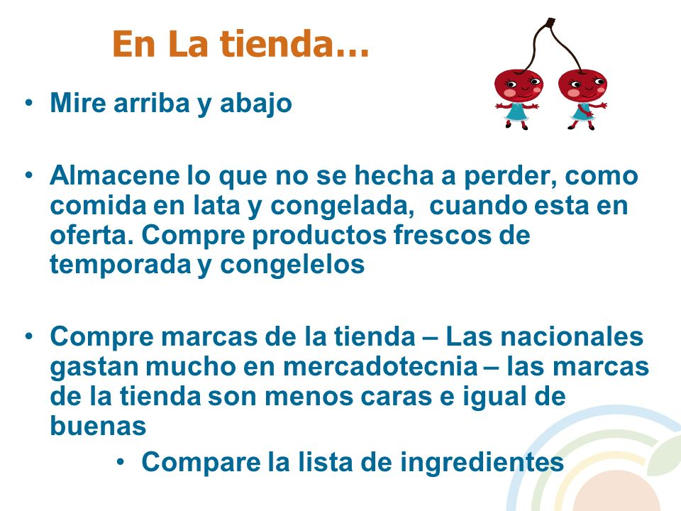 Compare la lista de ingredientes