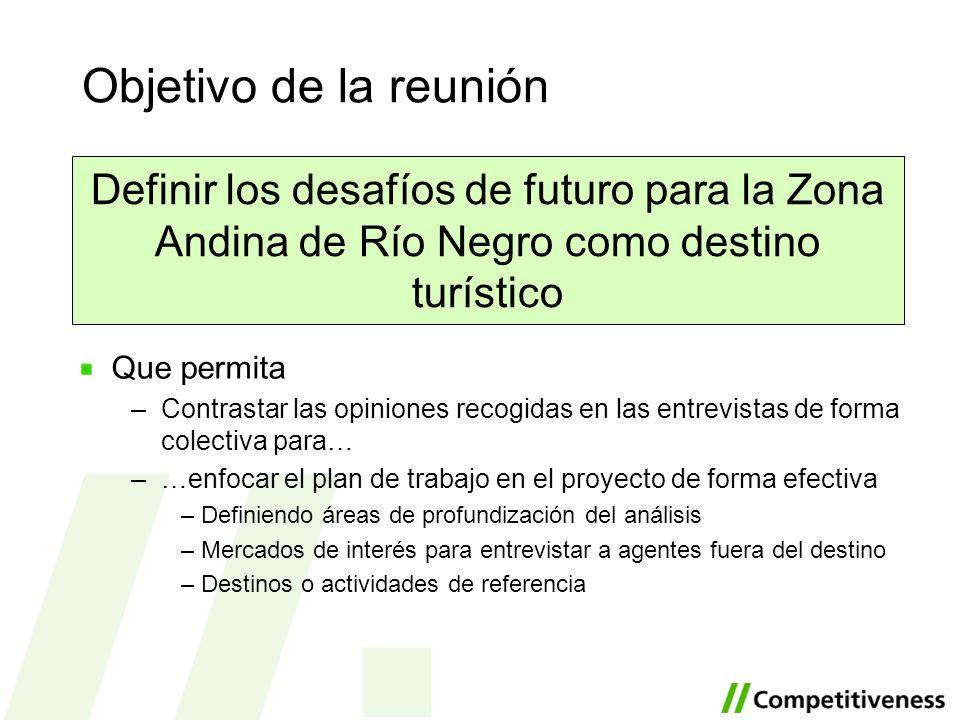 Objetivo de la reunión Definir los desafíos de futuro para la Zona Andina de Río Negro como destino turístico.