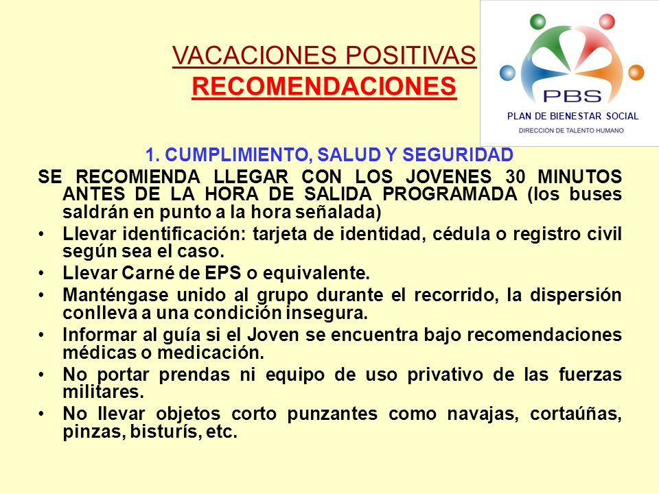 PLAN DE BIENESTAR SOCIAL 1. CUMPLIMIENTO, SALUD Y SEGURIDAD