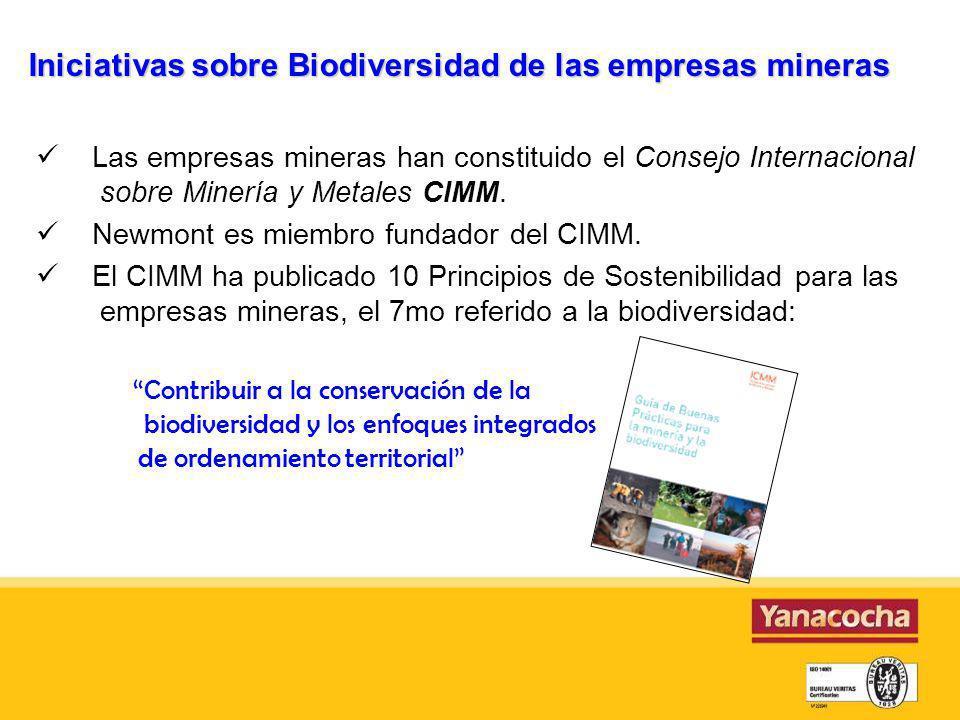 Iniciativas sobre Biodiversidad de las empresas mineras
