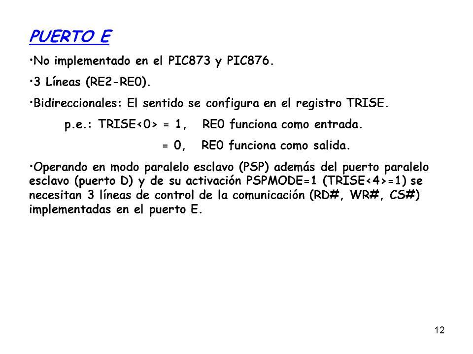 PUERTO E No implementado en el PIC873 y PIC876. 3 Líneas (RE2-RE0).
