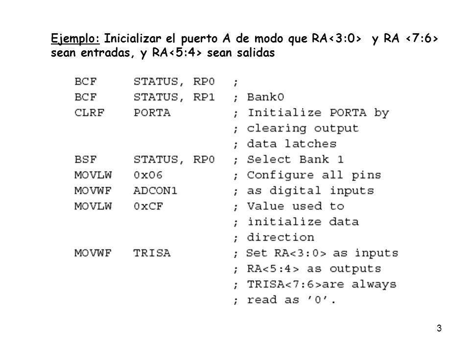 Ejemplo: Inicializar el puerto A de modo que RA<3:0> y RA <7:6>