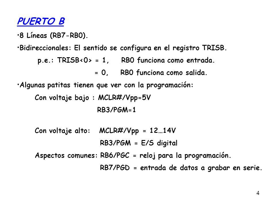 PUERTO B 8 Líneas (RB7-RB0).