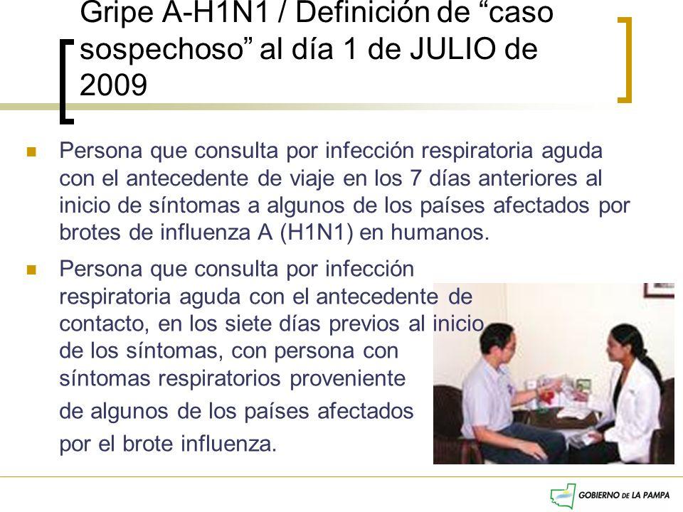 Gripe A-H1N1 / Definición de caso sospechoso al día 1 de JULIO de 2009