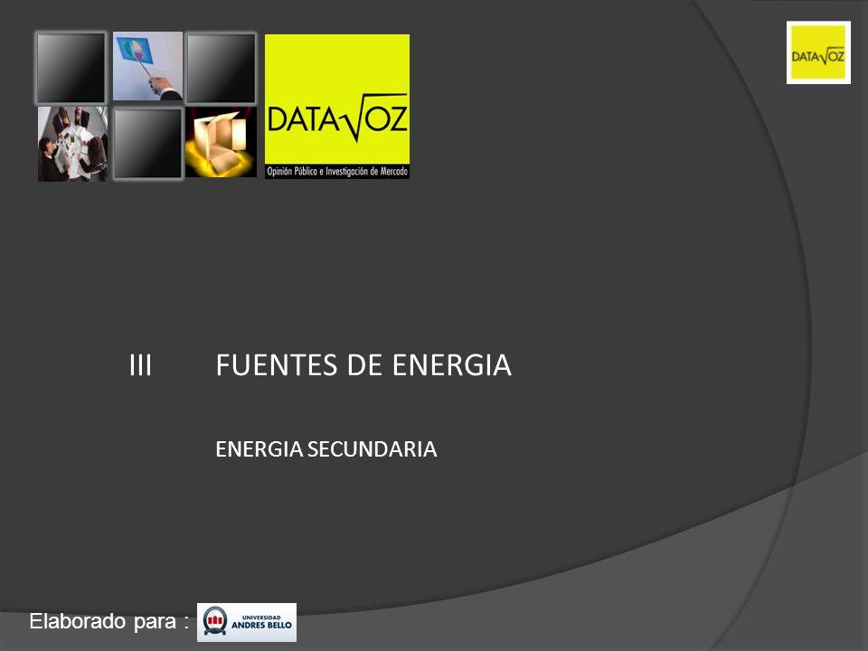III FUENTES DE ENERGIA ENERGIA SECUNDARIA