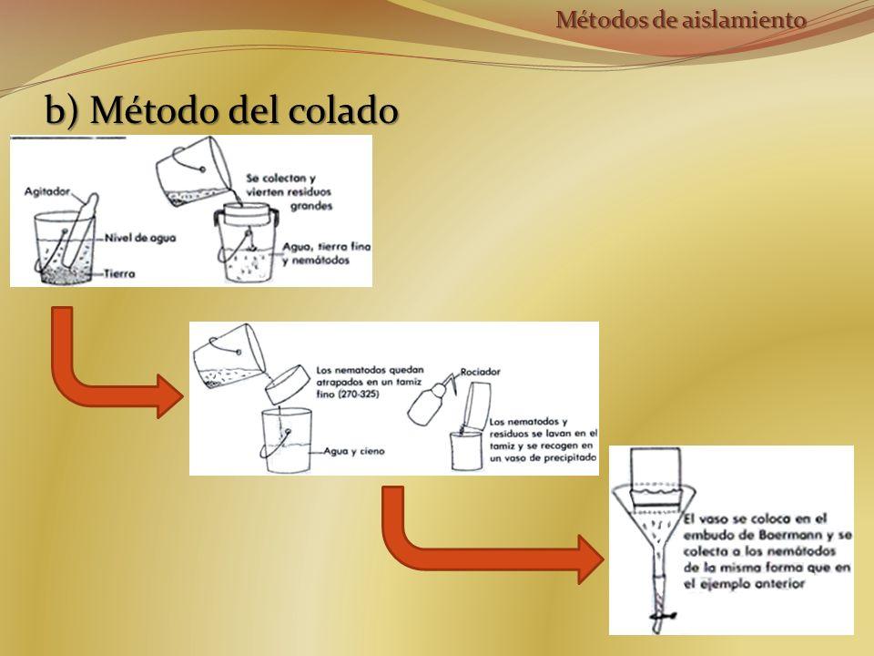 b) Método del colado Métodos de aislamiento