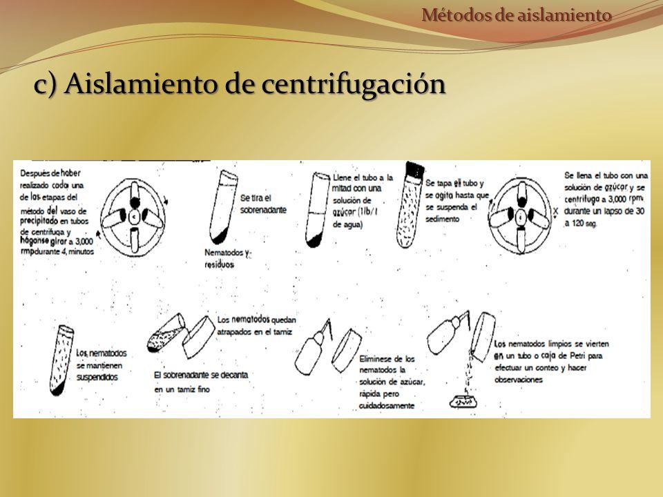 c) Aislamiento de centrifugación