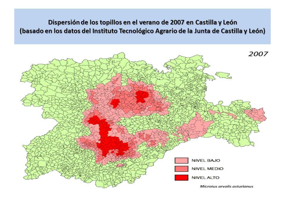 Dispersión de los topillos en el verano de 2007 en Castilla y León (basado en los datos del Instituto Tecnológico Agrario de la Junta de Castilla y León)