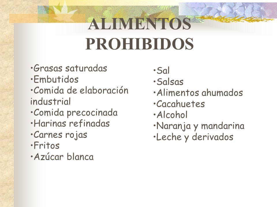 ALIMENTOS PROHIBIDOS Grasas saturadas Sal Embutidos Salsas