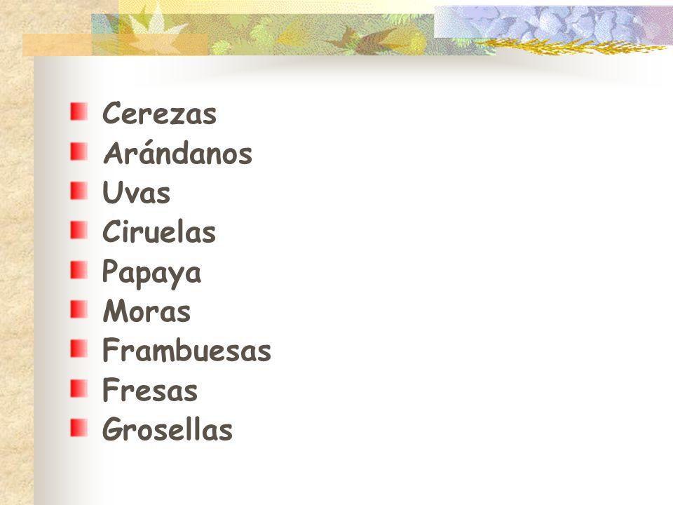 Cerezas Arándanos Uvas Ciruelas Papaya Moras Frambuesas Fresas Grosellas