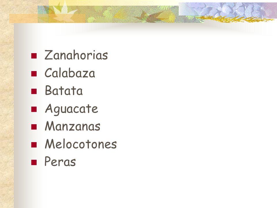 Zanahorias Calabaza Batata Aguacate Manzanas Melocotones Peras