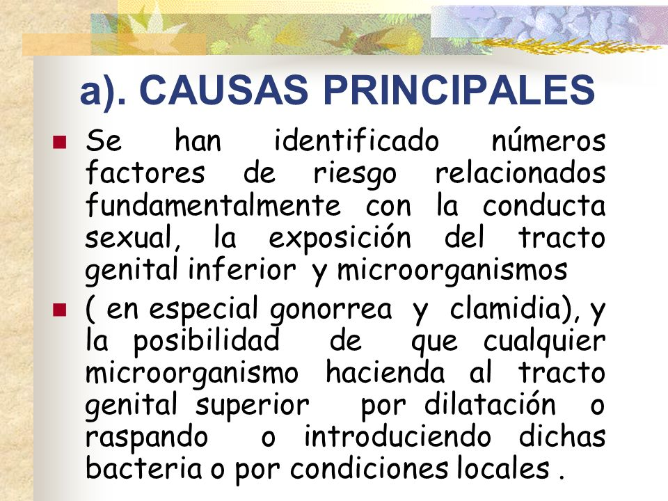 a). CAUSAS PRINCIPALES