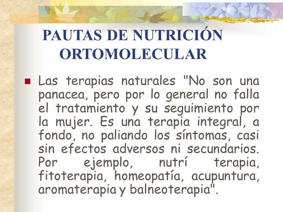 PAUTAS DE NUTRICIÓN ORTOMOLECULAR