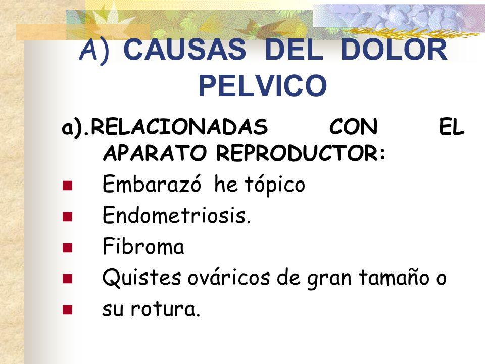 A) CAUSAS DEL DOLOR PELVICO