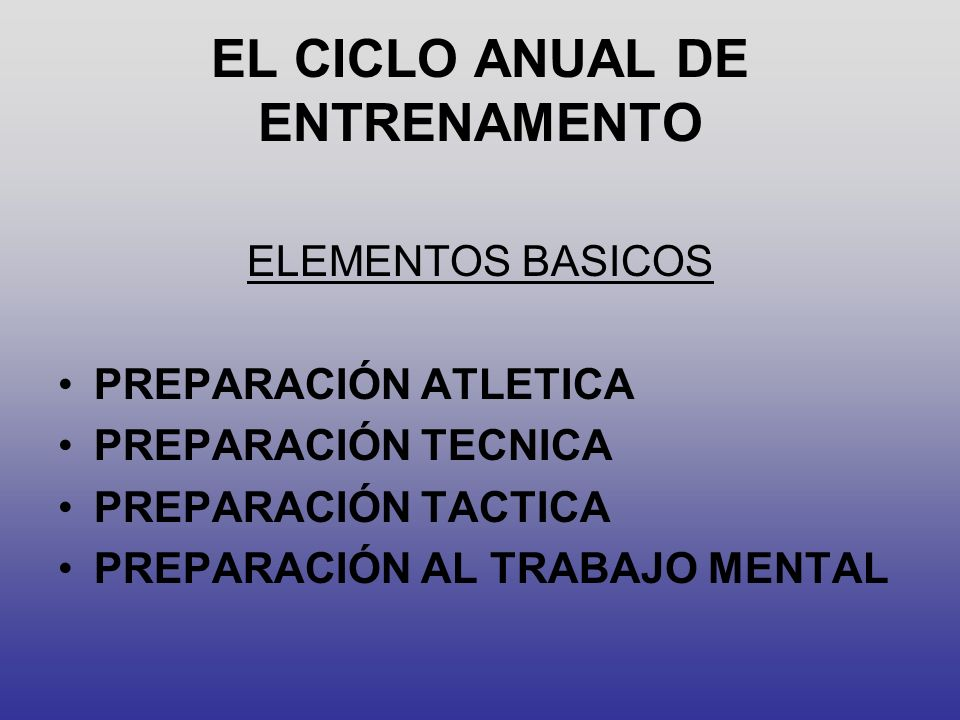 EL CICLO ANUAL DE ENTRENAMENTO