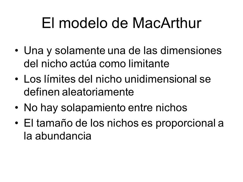El modelo de MacArthur Una y solamente una de las dimensiones del nicho actúa como limitante.