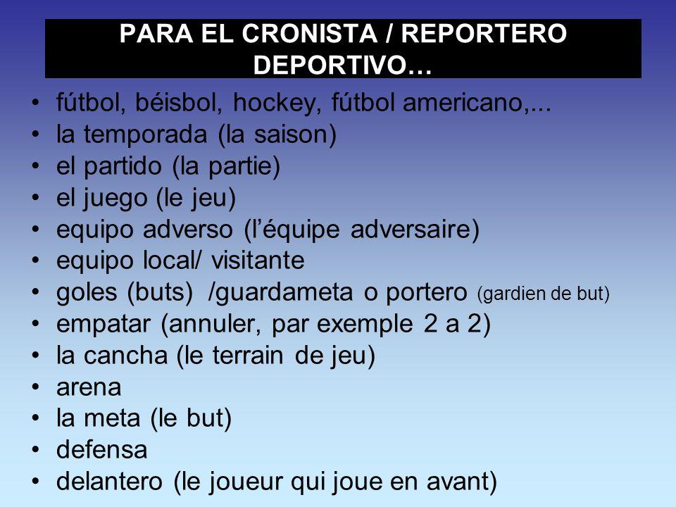 PARA EL CRONISTA / REPORTERO DEPORTIVO…