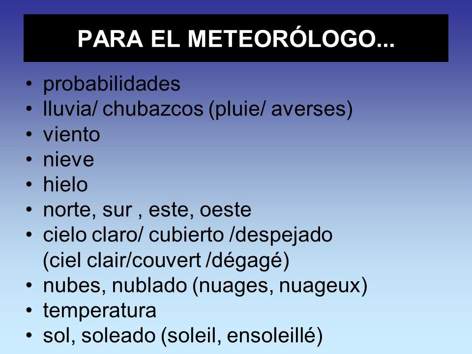 PARA EL METEORÓLOGO... probabilidades
