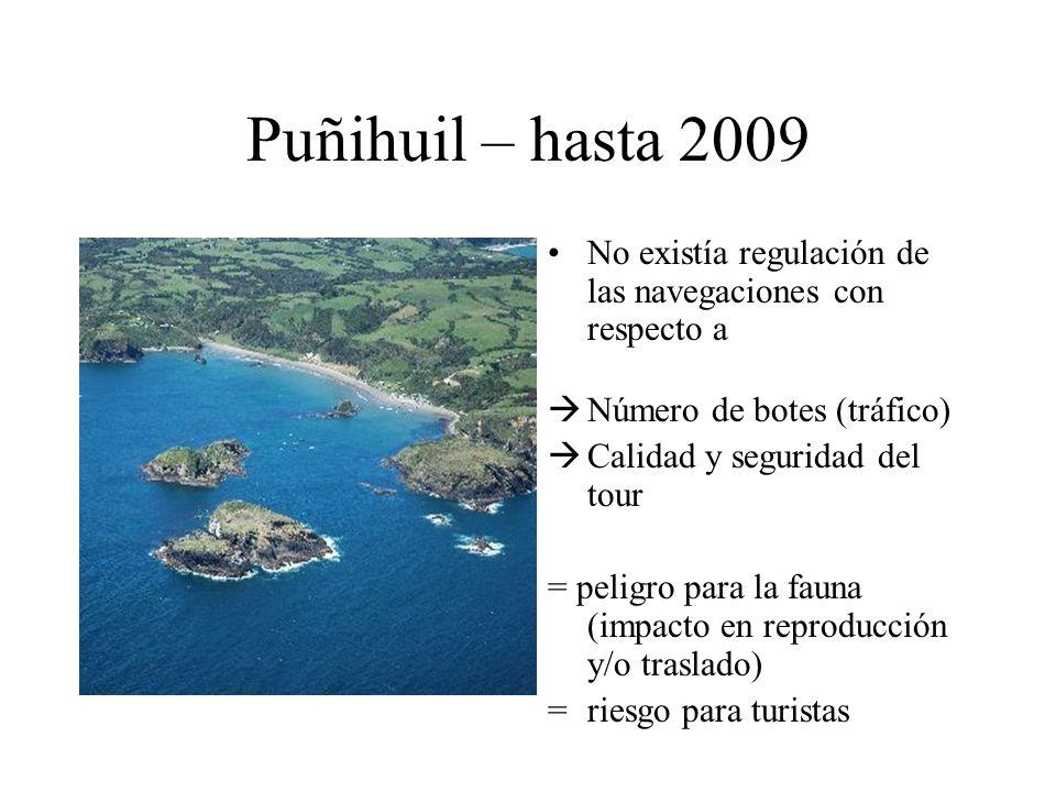 Puñihuil – hasta 2009 No existía regulación de las navegaciones con respecto a. Número de botes (tráfico)