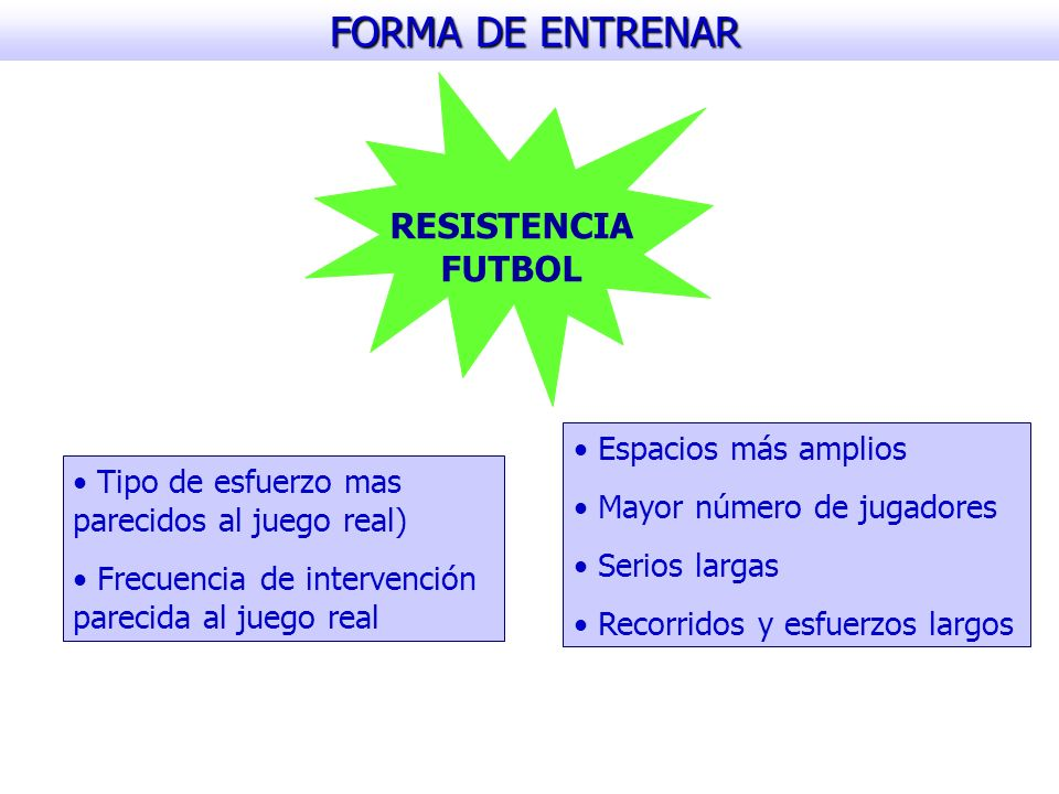 FORMA DE ENTRENAR RESISTENCIA FUTBOL Espacios más amplios