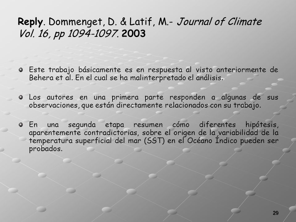Reply. Dommenget, D. & Latif, M. - Journal of Climate Vol
