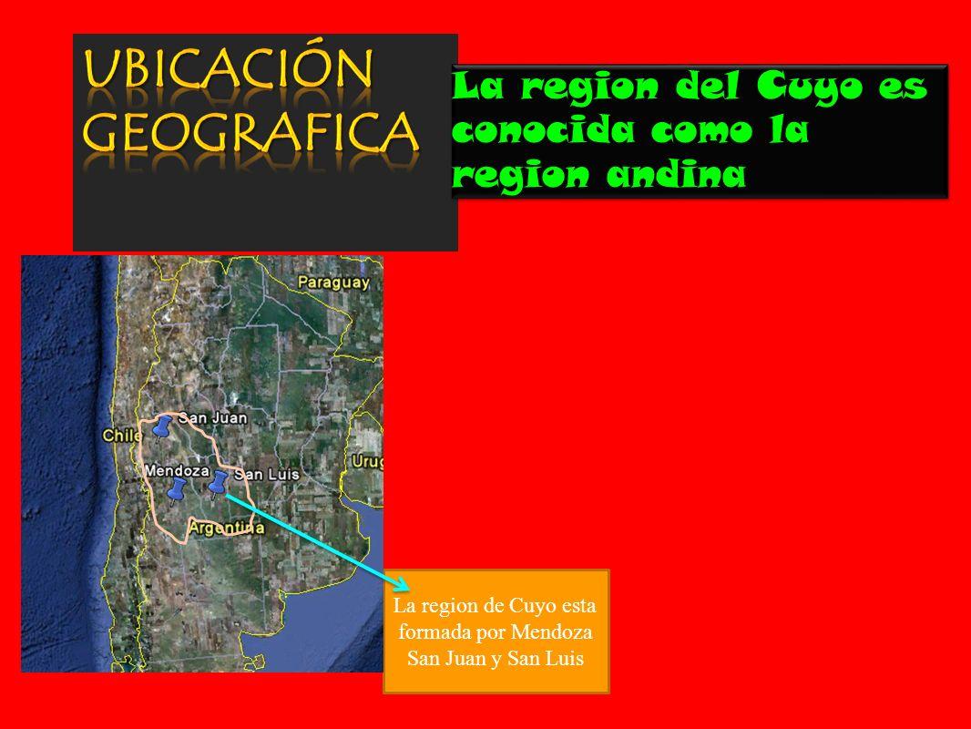 La region de Cuyo esta formada por Mendoza San Juan y San Luis