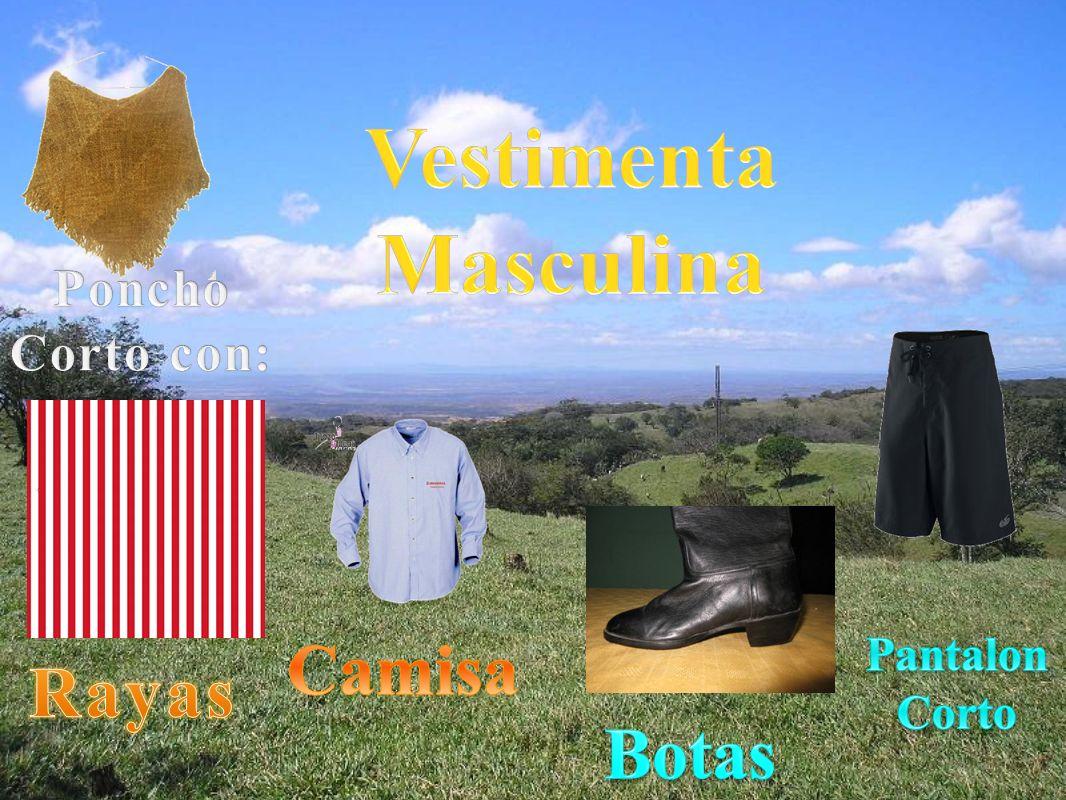 Vestimenta Masculina Camisa Rayas Botas Poncho Corto con:
