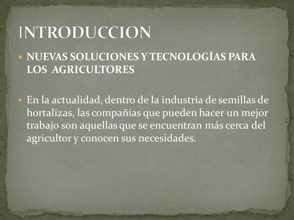 INTRODUCCION NUEVAS SOLUCIONES Y TECNOLOGÍAS PARA LOS AGRICULTORES