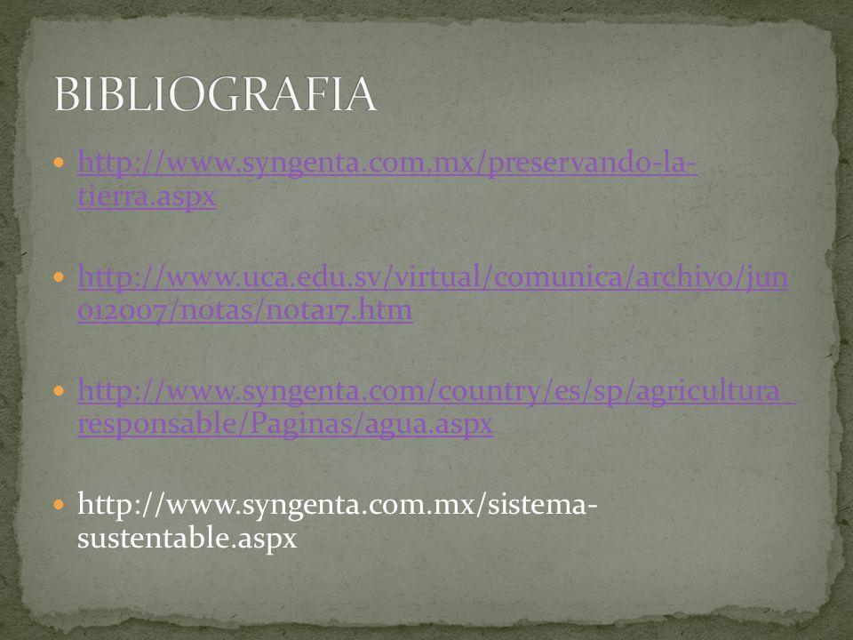 BIBLIOGRAFIA http://www.syngenta.com.mx/preservando-la- tierra.aspx