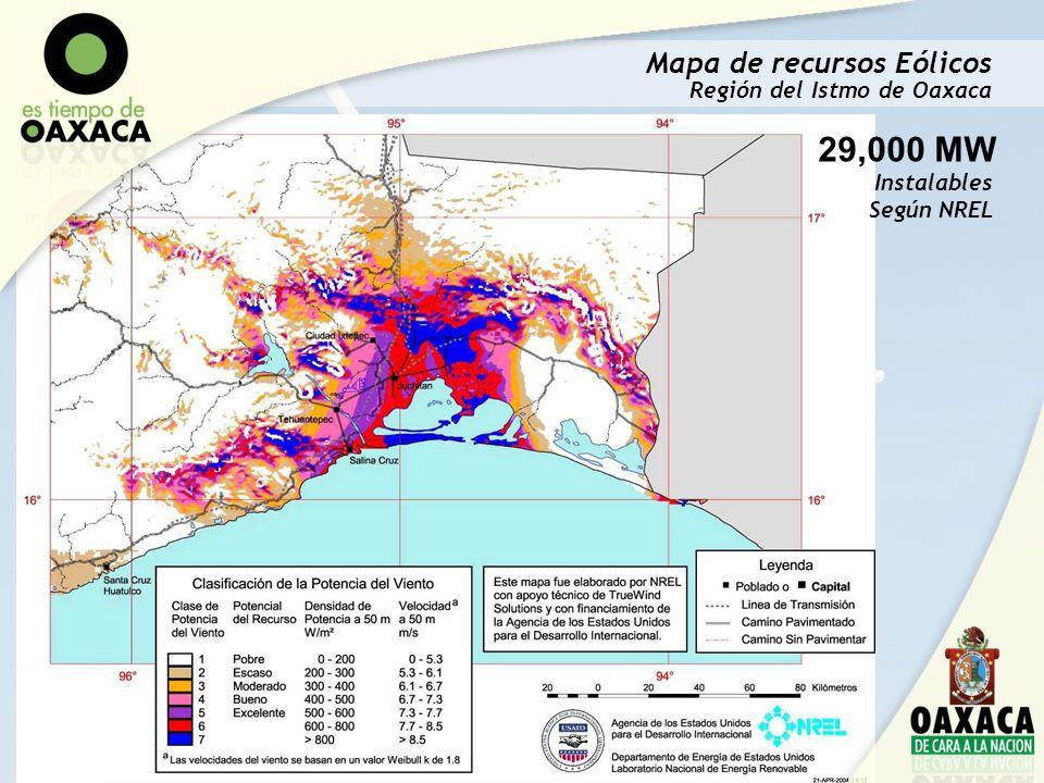 29,000 MW Mapa de recursos Eólicos Región del Istmo de Oaxaca