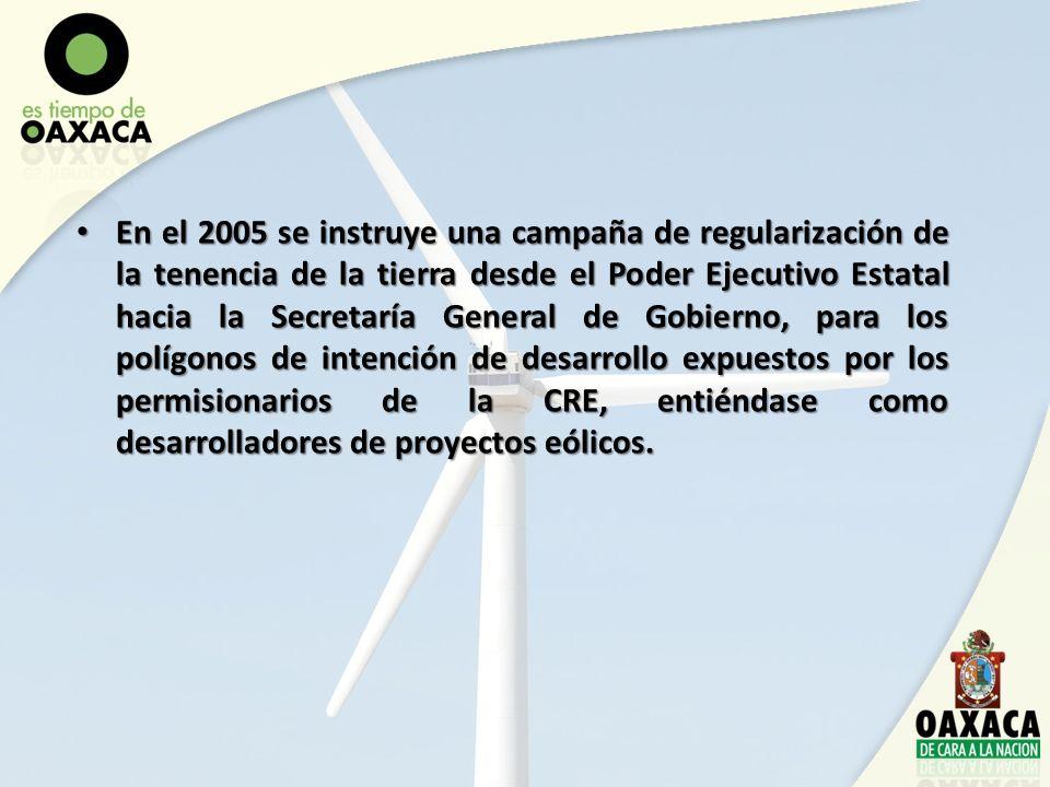 En el 2005 se instruye una campaña de regularización de la tenencia de la tierra desde el Poder Ejecutivo Estatal hacia la Secretaría General de Gobierno, para los polígonos de intención de desarrollo expuestos por los permisionarios de la CRE, entiéndase como desarrolladores de proyectos eólicos.