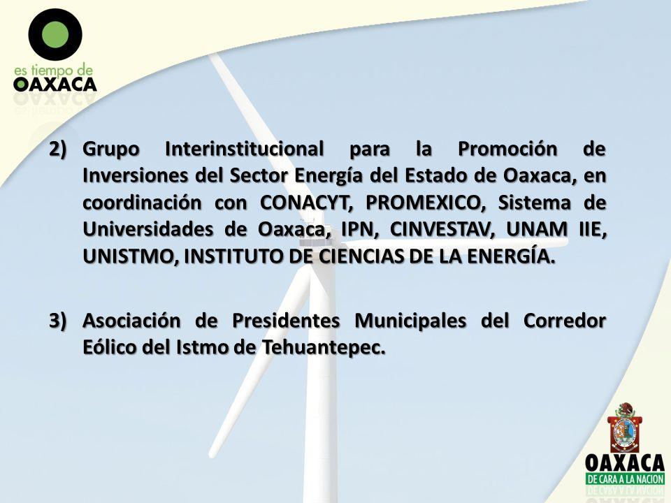 Grupo Interinstitucional para la Promoción de Inversiones del Sector Energía del Estado de Oaxaca, en coordinación con CONACYT, PROMEXICO, Sistema de Universidades de Oaxaca, IPN, CINVESTAV, UNAM IIE, UNISTMO, INSTITUTO DE CIENCIAS DE LA ENERGÍA.