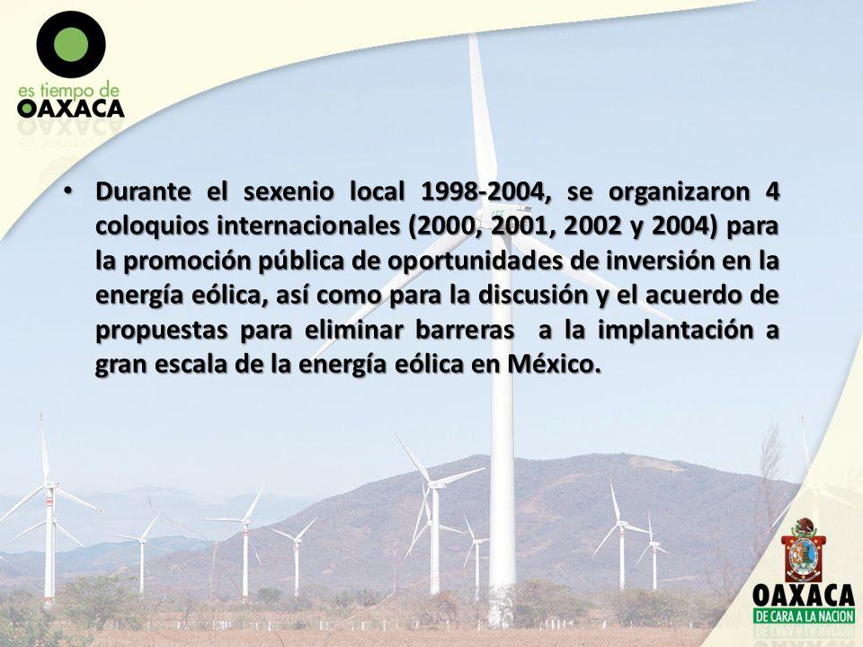 Durante el sexenio local 1998-2004, se organizaron 4 coloquios internacionales (2000, 2001, 2002 y 2004) para la promoción pública de oportunidades de inversión en la energía eólica, así como para la discusión y el acuerdo de propuestas para eliminar barreras a la implantación a gran escala de la energía eólica en México.