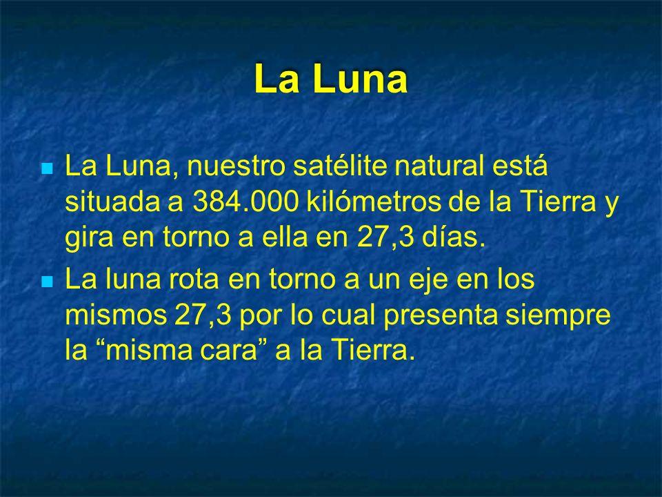 La Luna La Luna, nuestro satélite natural está situada a 384.000 kilómetros de la Tierra y gira en torno a ella en 27,3 días.