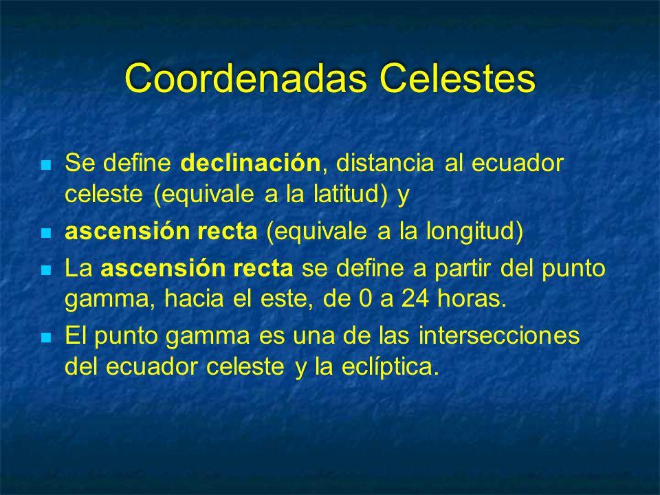 Coordenadas Celestes Se define declinación, distancia al ecuador celeste (equivale a la latitud) y.