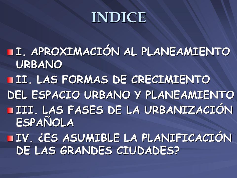 INDICE I. APROXIMACIÓN AL PLANEAMIENTO URBANO