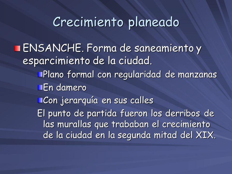 Crecimiento planeado ENSANCHE. Forma de saneamiento y esparcimiento de la ciudad. Plano formal con regularidad de manzanas.