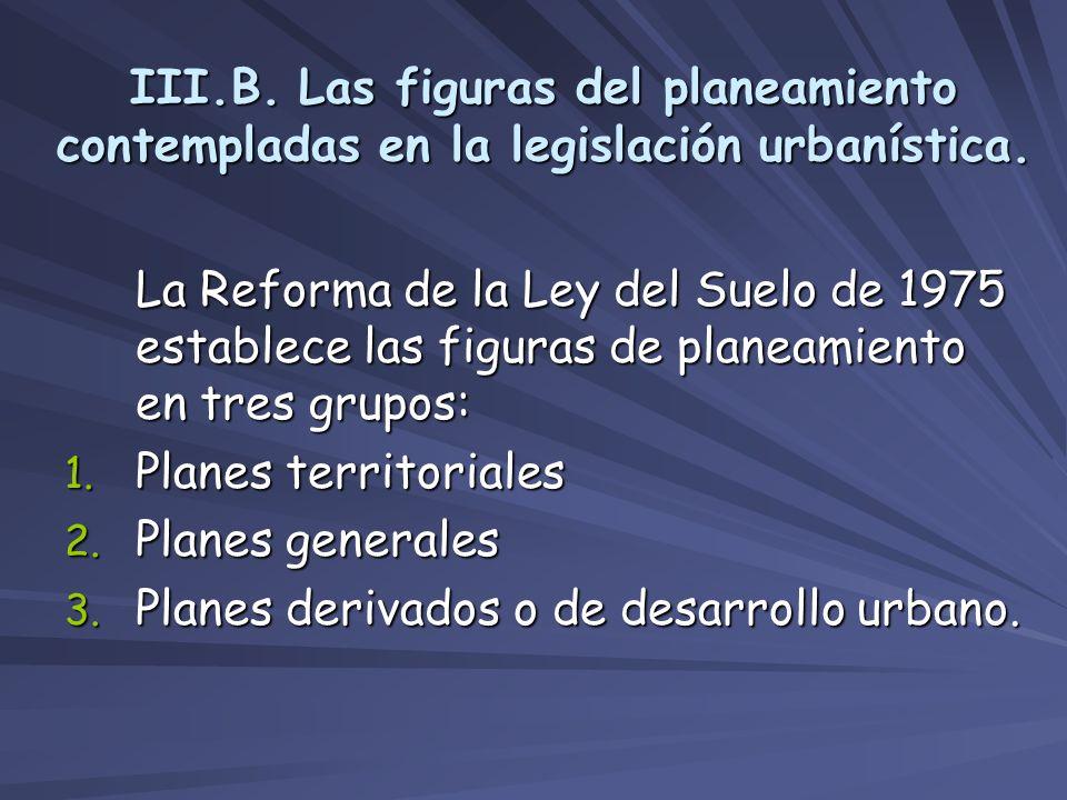 III.B. Las figuras del planeamiento contempladas en la legislación urbanística.