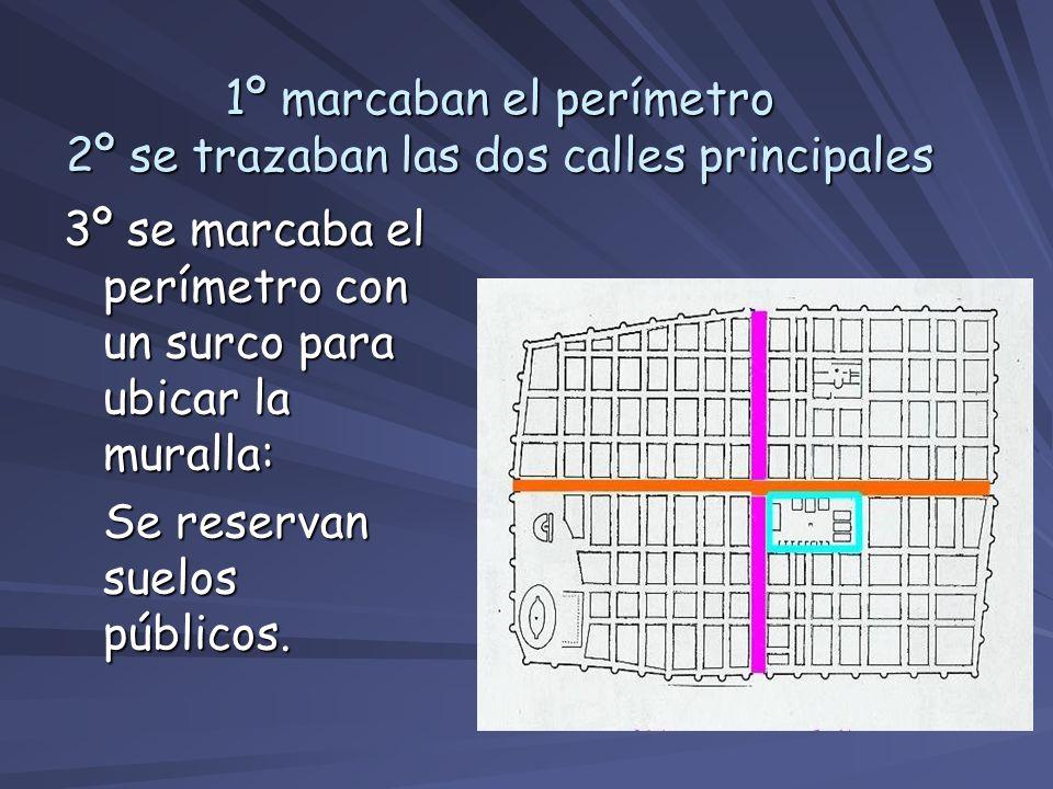 1º marcaban el perímetro 2º se trazaban las dos calles principales