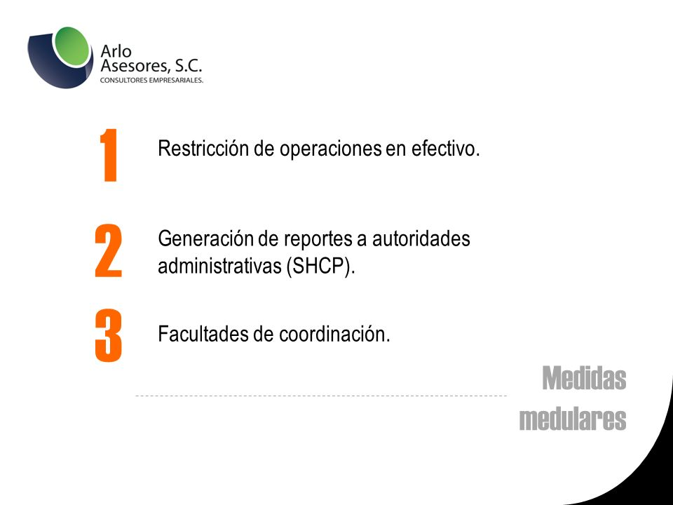 1 2 3 Medidas medulares Restricción de operaciones en efectivo.