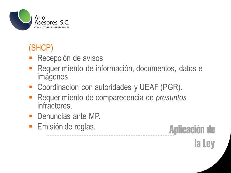 Aplicación de la Ley (SHCP) Recepción de avisos