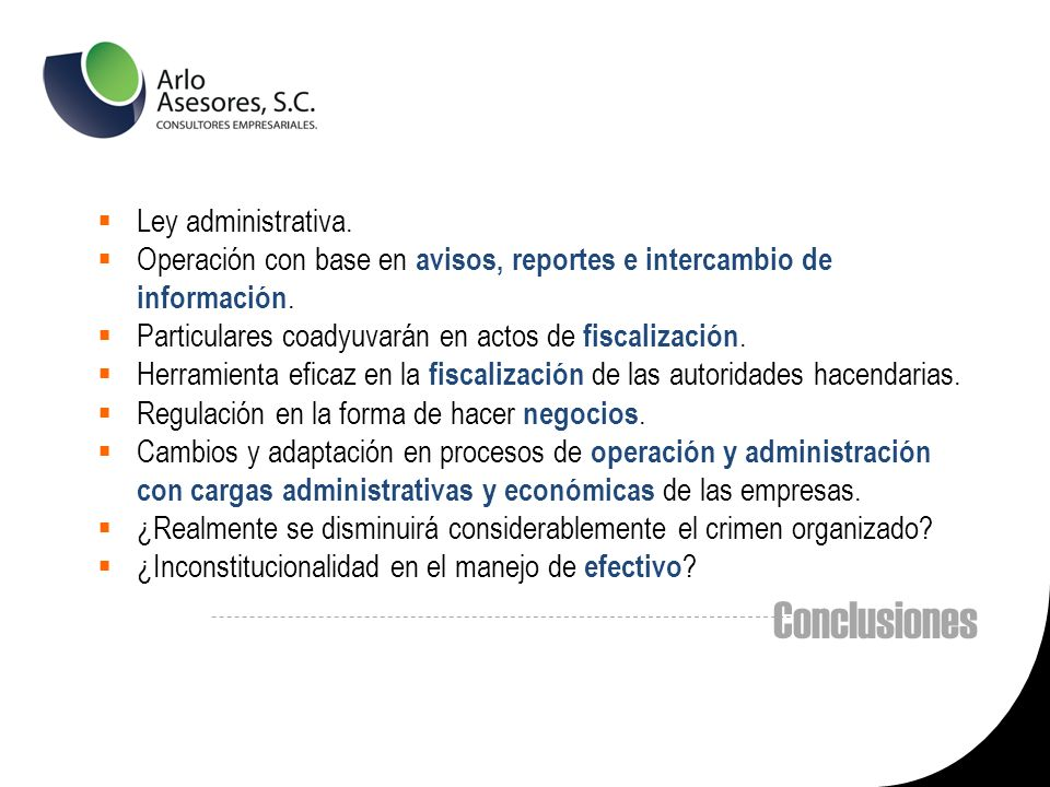Conclusiones Ley administrativa.