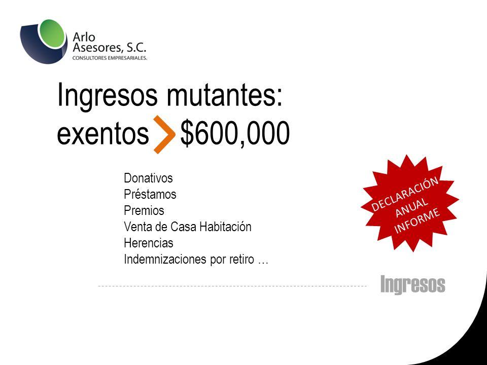Ingresos mutantes: exentos $600,000