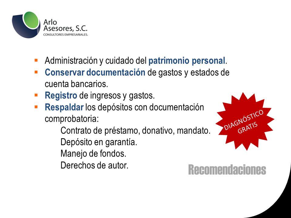 Recomendaciones Administración y cuidado del patrimonio personal.