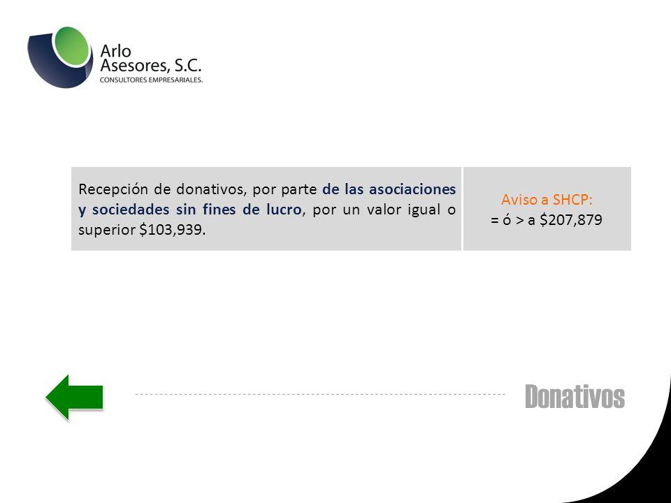 Recepción de donativos, por parte de las asociaciones y sociedades sin fines de lucro, por un valor igual o superior $103,939.