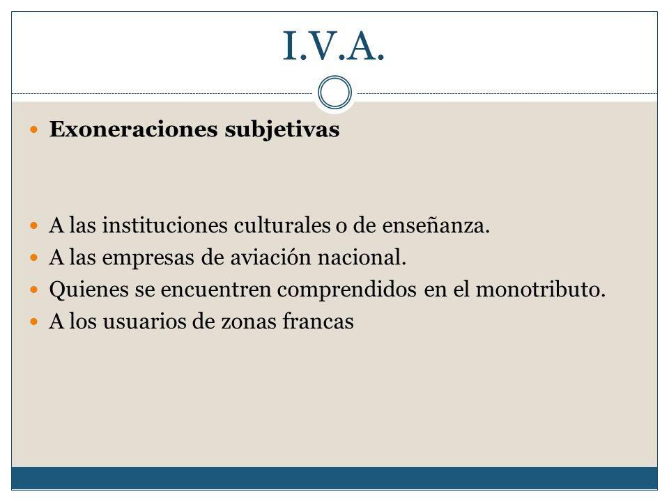 I.V.A. Exoneraciones subjetivas