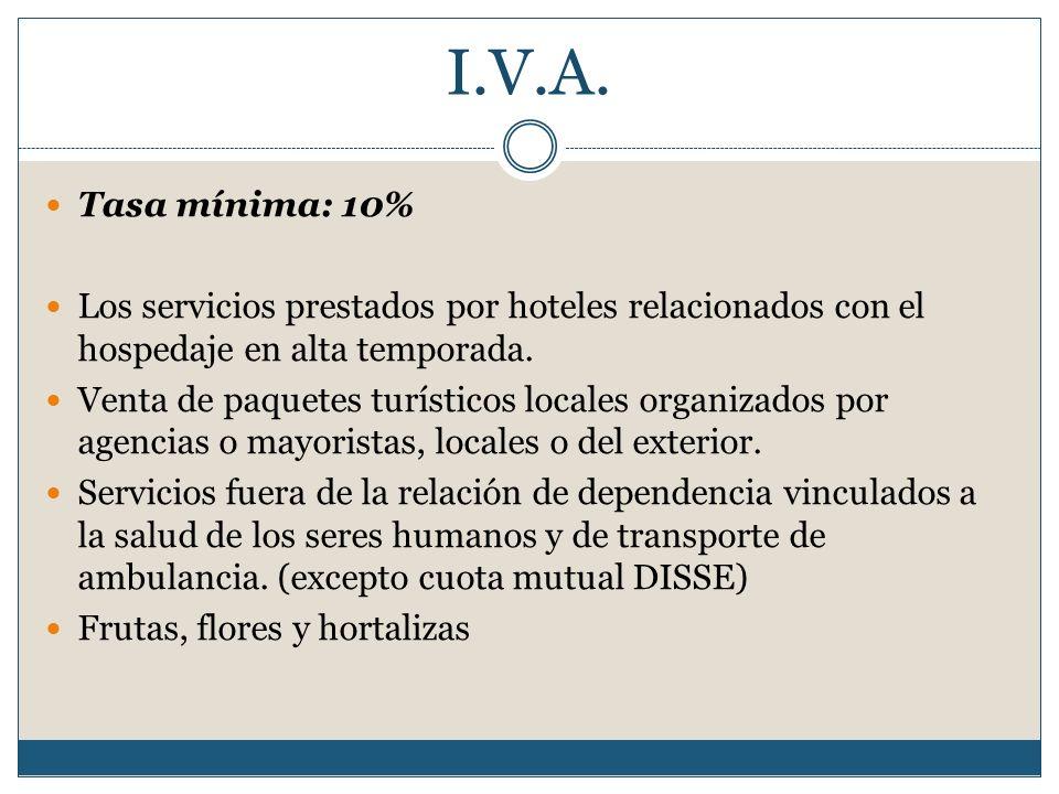 I.V.A. Tasa mínima: 10% Los servicios prestados por hoteles relacionados con el hospedaje en alta temporada.