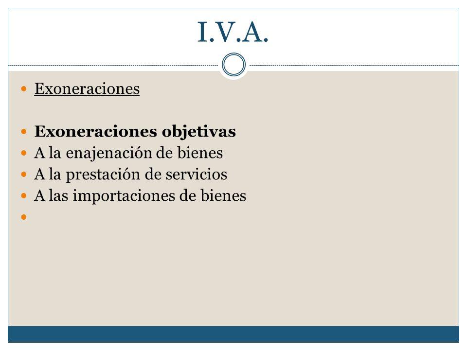 I.V.A. Exoneraciones Exoneraciones objetivas